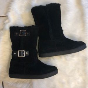 Tory Burch Sheepskin Buckle Boots Black 6.5